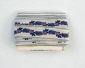 Vintage 1970's Embroidered Blue Flowered Sewing Trim, VIntage Notions, Vintage Accessory Trim, Cotton Trim Vintage