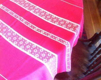 Red Tablecloth with Silvery Stripe