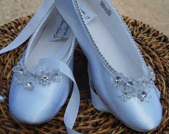 Wedding  Ballerina Slipper White Satin hand sewn silver pearls edging, lace up style, so beautiful, silver and white, comfortable flats