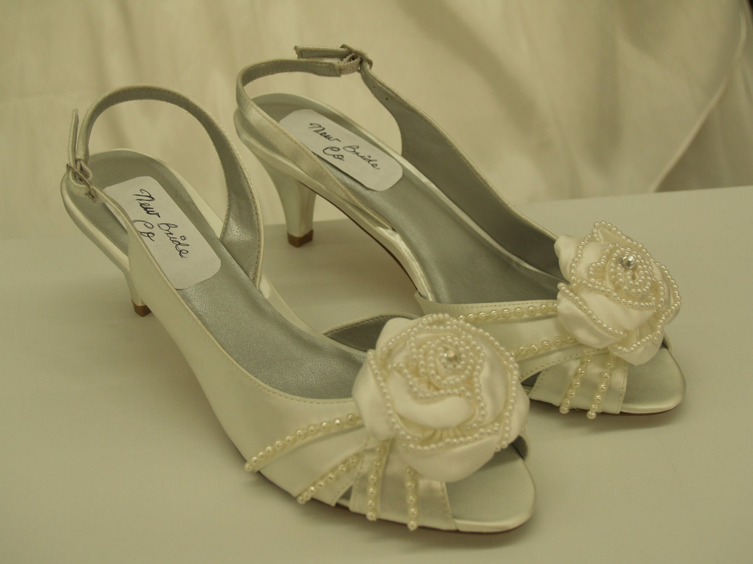 Diamondwhite Wedding Shoes Small Heel Pearls Pearl Amp Satin