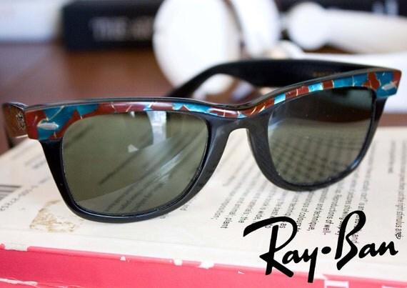 Unisex Legendary Original Ray-Ban Wayfarer. Mosaic turquoise & Burgundy. USA versionSALE%