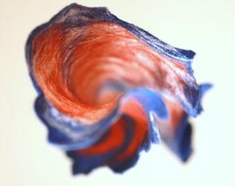Women felted scarf cobweb felt wool silk shawl - blue rust white - autumn fall winter scarf - made to order