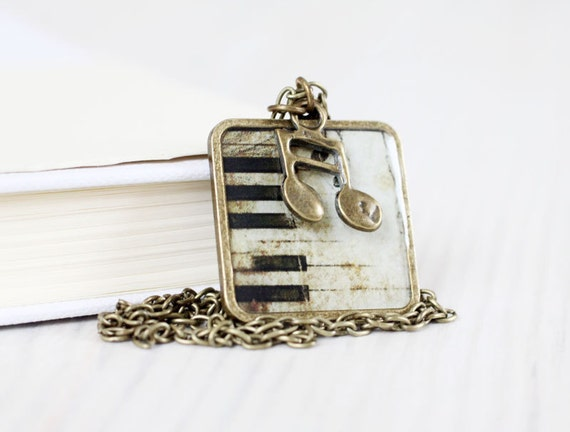 Vintage Piano key necklace - Music jewelry