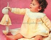 Vintage Knit Pattern PDF B135 Dress and Bunny Set from WonkyZebraBaby