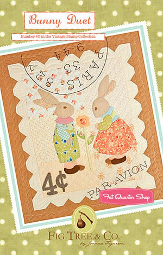 Bunny Duet Wall Hanging Pattern - Fig Tree & Co - Seasonal Mini Quilt 5