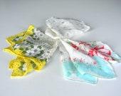 Vintage Handkerchief Set Women White Linen Flowers Floral