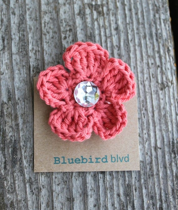 similar to Coral Crochet Flower Hair Bow, Hair Clip, Headband Clip ...