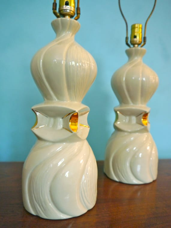 Pair of Mid White and Gold Modernist Ceramic Table Lamps