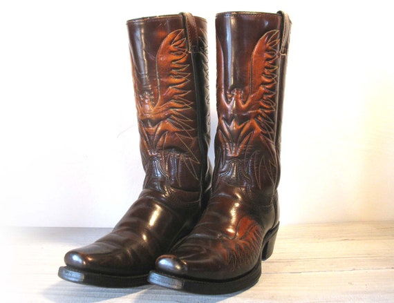 Men's 60's WRANGLER Embroidered Eagle Dark Brown Leather Stovepipe Cowboy Boots, size 9 D or Women 10.5