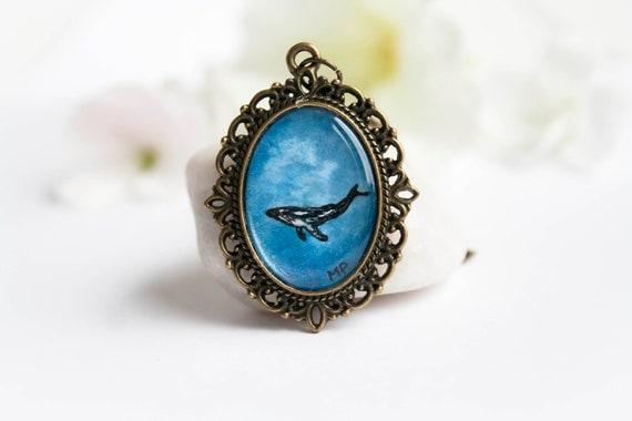 Whale necklace - Original watercolor - handpainted pendant - pendant necklace