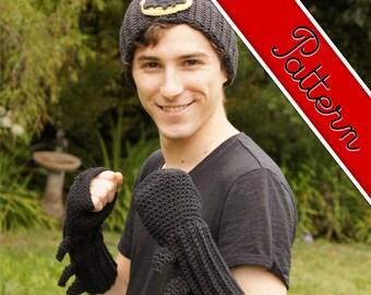 Crocheted Batman Ninja Fingerless Mittens / Gloves / Gauntlets and Logo Pattern
