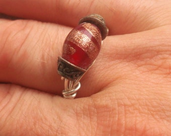 Red and gold hand beaded wire wrapped ring
