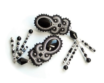 HALF PRICE !!! Soutache unusual earrings - elegant and romantic - Black Siren