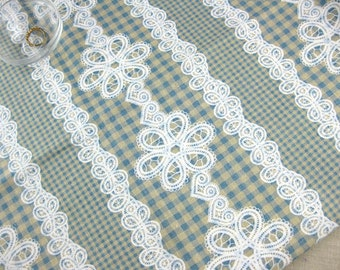 LF029 - Linen Cotton Blended Fabric - Checker And Lace - blue  - 1/2  yard