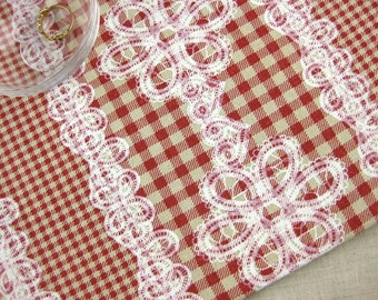 LF032 - Linen Cotton Blended Fabric - Checker And Lace - red  - 1/2  yard
