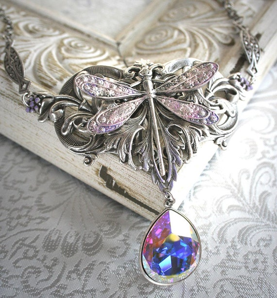 FLIGHT OF FANCY romantic vintage fantasy Victorian inspired dragonfly choker necklace in aged silver with Swarovski