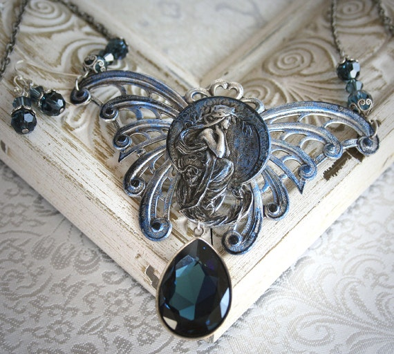 MIDNIGHT DREAMING romantic vintage fantasy inspired aged silver butterfly fairy art nouveau necklace, free earrings