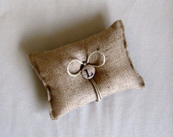 Custom Initial natural Burlap ring bearer pillow