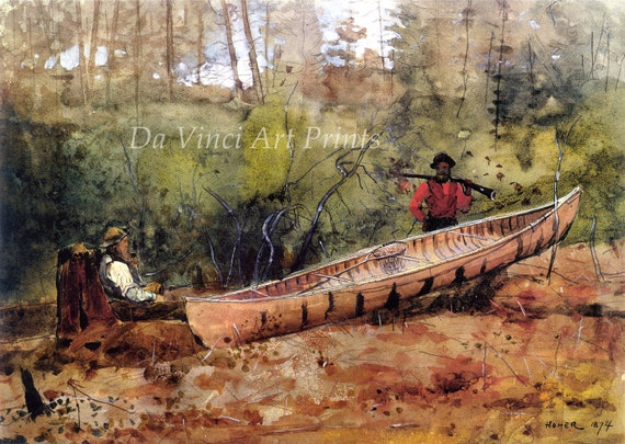 Winslow Homer Watercolor Reproductions. Trappers Resting, 1874. Fine Art Print.