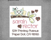 Owl on Branch with Hearts - Square Address Labels - Design: Sarah