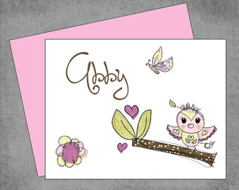 Sweet Owl on a Branch with Butterfly and Flowers Note Cards - Brown and Pink - Personalized Note Cards - Flat or Folded - Design: Abby