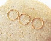 Set of Three Thin Cartilage Hoop Earrings, 14K Gold Filled, 24 Gauge Helix Piercing Hoops, Ear Hugging Hoops, 3 Cartilage Earrings