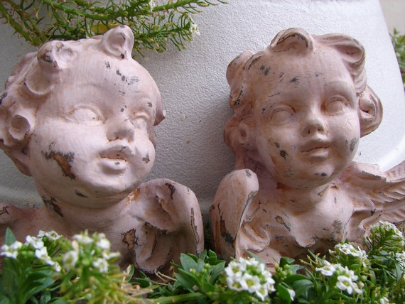 Vintage,French shabby chic pair pink,distressed,chippy painted cherubs.Paris apartment