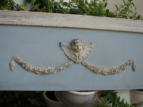 French shabby chic,Art Nouveau style,Victorian cherub & large roses swags,wooden pediment.shabby duck-egg blue/white
