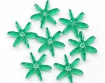 25mm Transparent Green Starflake Beads - 144 Beads