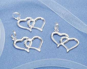Double Linked Heart Silver Charms (20pc)
