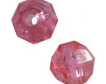10mm Transparent Pink Faceted Beads - 288 Beads