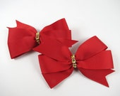 Red and Gold Hair Bows - Hair Bow Set - Red Hair Clips - Pigtail Hair Bows - Toddler Teenager Adult Hair Clip