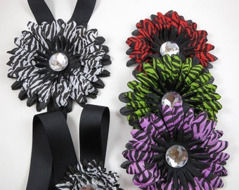 Zebra Flower Hair Bows - Zebra Bow Holder - Hair Bow Girl Gift Set - Flower Hair Clip Set - Purple Green Red Zebra Hair Clips