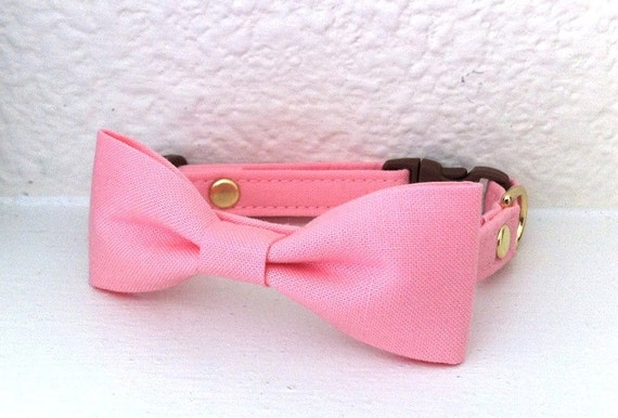Pink Dog Cat Bow Tie Collar