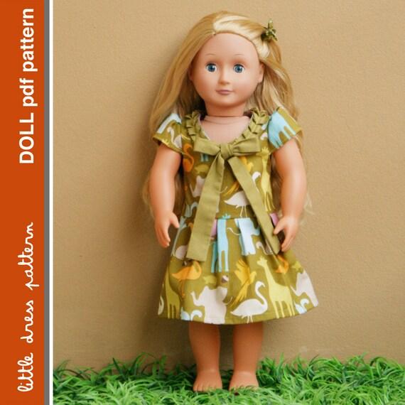 Stella Doll Dress - PDF Pattern - Doll Size 18 inch, PDF Downloadable, Easy Pattern