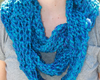 SALE Hand Knit Light Weight Infinity (Cowl) Scarf,  in Vibrant Blue Colors,  Handspun Hand Dyed Wool Yarn