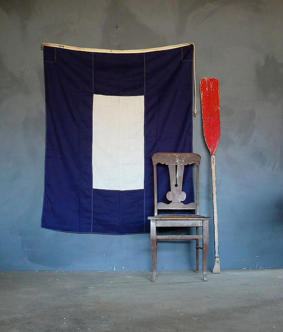 Vintage Worn Signal Flag. P for Papa