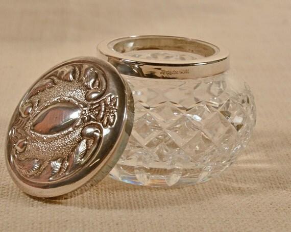 Vintage Waterford Crystal Silver Vanity Jar