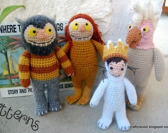 PATTERNS Where the Wild Things Are Set of Four Crochet doll dolls Amigurumi Patterns