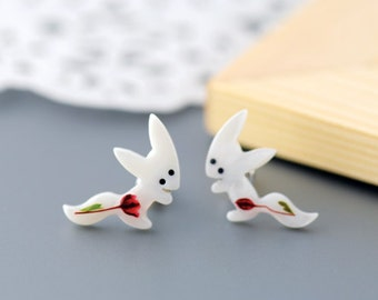 Little Red Flowers Fox Earrings.