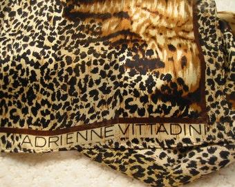 vintage rectangular 'Adrienne Vittadini' silk scarf  -  animal print