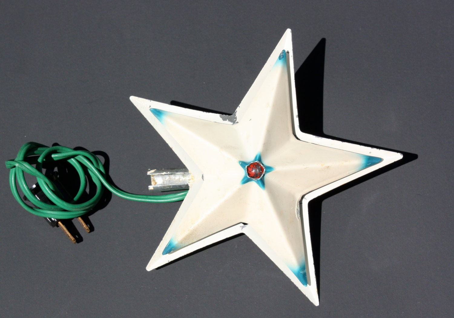 Vintage Noma Metal Illuminated Star Christmas Tree Topper In