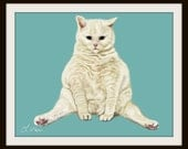 White Fat Cat Sat Nursery Art Oil Painting Print 16x20 11x14 8x10 5x7 Turquoise White Ivory Cream Blue Eyes
