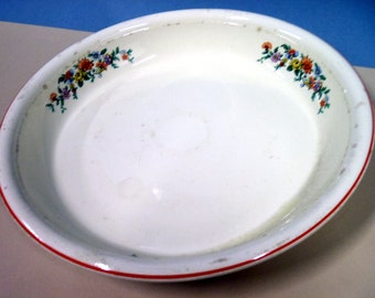 Homer Laughlin 10.5 in Pie Plate, Colorful Red Blue and Yellow Flowers, Antique, Bowl, Serving Dish