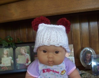 Hand Knit,White,Burgandy,Gift,Boy,Girl,Pom Pom,Hat,Preemie,Infant,Dolls