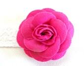 Fuchsia Felt Flower on White Elastic Headband -  For Infant, Toddler, Child or Adult