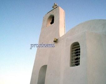Summer photo, blue white decor, Greece, photo of a white church, Saint  Nicolas, greek church