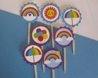 12 Rainbow Theme Cupcake Toppers