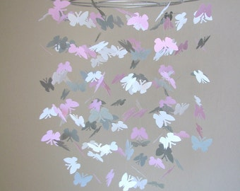 Butterfly baby mobile -White, light gray and pink