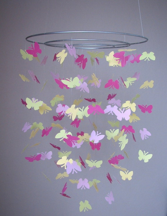 butterfly baby mobile pink light pink light green and. Black Bedroom Furniture Sets. Home Design Ideas